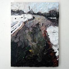 Martin Potsch | Isar im Schnee, 15x11cm | Original Ölfarbe auf Holz, signiert