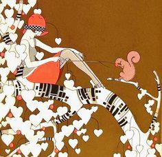 My Puzzles - Vintage Stuff - Woman Feeding Squirrel 1927