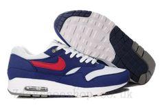 san francisco 4c02d cf210 Mens Nike Air Max 1 Cheap White Gym Red Thunder Blue Medium Grey Shoes Air  Max