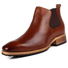 British men height increasing tooling boots taller 8cm / 3.15inches brown chelsea boots