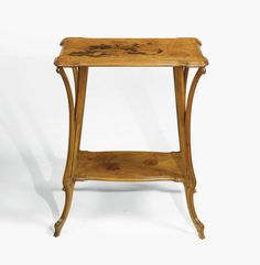 ÉMILE GALLÉ SIDE TABLE signed GALLÉ in marquetry walnut and fruitwood marquetry 29 1/2  x 24 3/4  x 15 1/2  in. (74.9 x 62.9 x 39.4 cm)  circa 1905