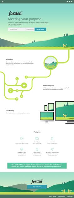 Colorful illustrations in this spacious One Pager for Video Conferencing app 'FoxDen'