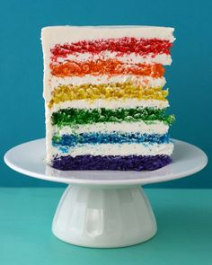 Rainbow Cake. -Vegetable shortening -3 cups all-purpose flour -4 teaspoons baking powder -1/2 teaspoon salt -2 sticks (1 cup) unsalted butter, room temperature -2 1/3 cups sugar -5 large egg whites, room temperature -2 teaspoons pure vanilla extract -1 1/2 cups milk, room temperature -Red, orange, yellow, green, blue, and purple gel food coloring -Lemony Swiss Meringue Buttercream I am so going to try this for Aelham coming birthday. Yippee!!