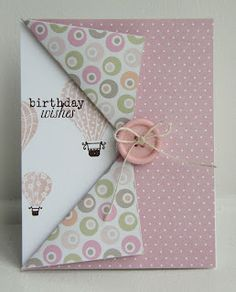This handmade Birthday card is so pretty and unique. It is great for paper that is printed on both sides - you don't waste either side!