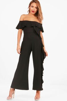 f5c06524275 Click here to find out about the Wide Ruffle Leg Jumpsuit from Boohoo