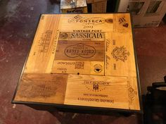 Items similar to Repurposed wine box coffee table on Etsy Coin Couture, Crate Crafts, Decor Crafts, Wine Bistro, Table Cafe, Living Room Update, Backyard Patio Designs, Wine Cabinets, Wine Label