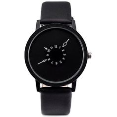 Black Faux Leather Strap Number Round Quartz Watch (255 DOP) ❤ liked on Polyvore featuring jewelry, watches, round watches, quartz wrist watch, quartz watches and quartz jewelry
