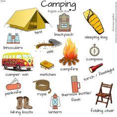 Camping Vocabulary, ESL, EFL, English, Vocabulary, English with Eva