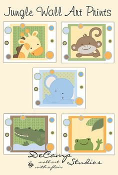Cute Jungle Animals Wall Art Prints for baby girl or boy safari nursery and children's zoo room decor. Giraffe, Elephant, Monkey, Alligator, and Frog #decampstudios