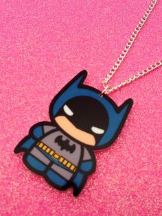 READY TO SHIP Chibi Batman Necklace by Ge3kedUp on Etsy, $13.00
