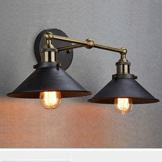 CLAXY® Ecopower Industrial Edison Simplicity 2 Light Wall Mount Light Sconces Aged Steel Finished - - Amazon.com