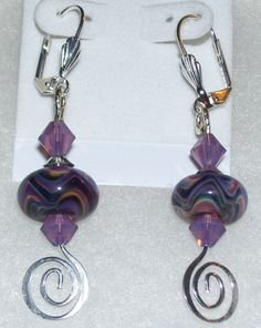 Purple Waves Boro Bead and Crystal Earrings by mommazart on Etsy, $14.00