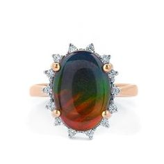<strong>6</strong> - AA Ammolite & White Zircon 10K Gold Ring (10x14mm)
