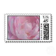 pale pink peonies flowers wedding stamps