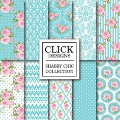 "Shabby Chic Digital Paper: ""SHABBY CHIC TURQUOISE"" Floral scrapbook romantic papers with pink roses, damask, lace for wedding invites, cards"