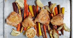 One-Pan Roasted Chicken with Carrots #purewow #chicken #easy #recipe #dinner #vegetable #main course