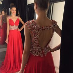 Open back prom dress, red prom dress, chiffon prom dress, prom dress 2016, online prom dress