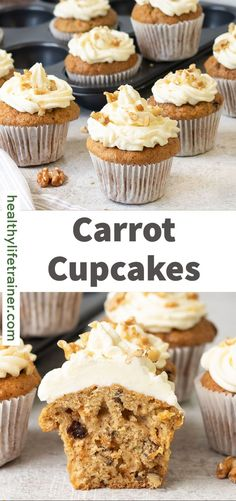People of all ages love carrot cupcakes with cream cheese frosting for their warm sweetness and the lovely spice tone from cinnamon and ginger.The cheese frosting also elevates the taste with its tangy cream cheese flavor. #carrotcupcakes #healthycupcakerecipe #cupcakeswithfrosting Healthy Cupcake Recipes, Muffin Recipes, Carrot Muffins, Cupcakes With Cream Cheese Frosting, Lunch Box Recipes, Carrots, Cinnamon, Spice, Snacks