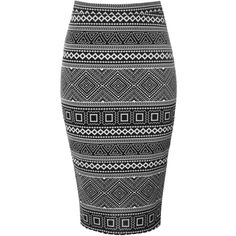 Black Aztec Stripe Pencil Skirt ($16) ❤ liked on Polyvore featuring skirts, black, knee length pencil skirt, bodycon pencil skirt, striped pencil skirt, high-waisted skirts and striped skirt