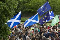 Saltires and European Union flags outside Holyrood in June. Picture: SWNS
