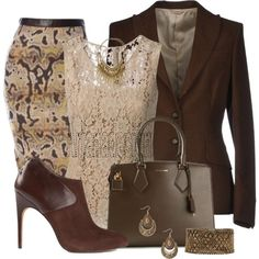 I love wearing brown. I love the palette in this outfit. The pattern in the skirt isn't great though.