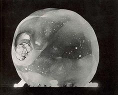 Atomic Bomb detonation Photos by Harold Edgerton. Automatic Camera situated 7 miles from blast with 10 foot lens. Shutter speed equaled 1/100,000,000 of-a-second exposure.
