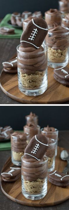 Chocolate cheesecake football dessert shooters topped with peanut butter stuffed chocolate footballs. A great recipe for game day!: Chocolate cheesecake football dessert shooters topped with peanut butter stuffed chocolate footballs. A great recipe for ga Mini Desserts, Party Desserts, Just Desserts, Dessert Recipes, Football Desserts, Football Food, Football Recipes, Dessert Party, Yummy Treats