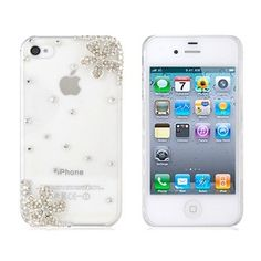 Iphone cases!    from SaraOutlet.com    Transparent PC Rhinestones Decorated Decal Design Protective Case for iPhone 4 & 4S (Transparent)