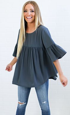 love lies babydoll top - charcoal