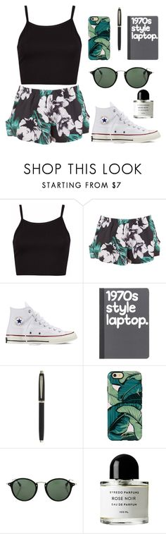 """palm tree vibes"" by ninazimmerman ❤ liked on Polyvore featuring The Fifth Label, Converse, Sheaffer, Ray-Ban, Byredo, women's clothing, women, female, woman and misses"