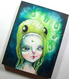 Original painting by Micki Wilde.......Octogirl and the crystal cavern.