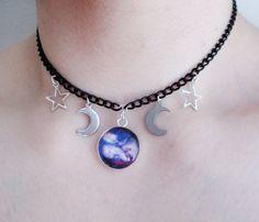 Gargantilla luna de galaxia, pastel goth, nu goth, grunge