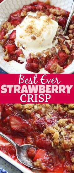 summer recipes This Strawberry Crisp Recipeis the best summer dessert ever! Fresh juicy strawberries are topped with a buttery and crumbly oat topping, and is absolutely swoothworthy with a big scoop of vanilla ice cream on top! Best Summer Desserts, Summer Dessert Recipes, Healthy Dessert Recipes, Dinner Recipes, Quick Dessert, Strawberry Desserts Healthy, Frozen Strawberry Recipes, Blueberry Recipes, Desert Recipes
