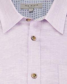 Roll sleeve linen mix shirt - Lilac | Shirts | Ted Baker