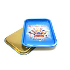 This custom tin metal serving tray is made up of 0.25mm food grade tinplate. It is food safety and can be used to service food, such as fruits, beer or snacks. The tin tray is very durable and it is a very economic household tin craft.