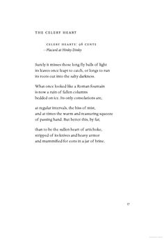 Celery Hearts: 98 cents - Ted Kooser
