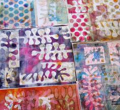 I just got my new giant gelli plate and had a giant party.  -- life as a five ring circus Dorit Elisha, mixed media artist
