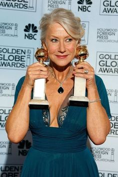 Helen Mirren, 2007 Cinema royalty Helen Mirren took home two Golden Globes in 2007 when she won for her roles in The Queen and Elizabeth I, becoming the first ever to win for both leading roles in TV and film in the same year. She's nominated again for Hitchcock at the 2013 Golden Globes.