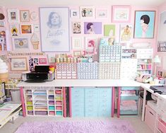 Craft room tour diy ideas for 2019 Study Room Decor, Cute Room Decor, Craft Room Storage, Room Organization, Craft Rooms, My Room, Girl Room, Kawaii Bedroom, Otaku Room