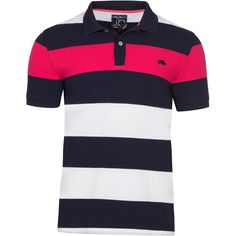 Raging Bull Irregular Hoop Polo ($65) ❤ liked on Polyvore featuring men's fashion, men's clothing, men's shirts, men's polos, men's cotton polo shirts, mens polo shirts, mens pink striped dress shirt, mens striped polo shirts and mens striped shirt