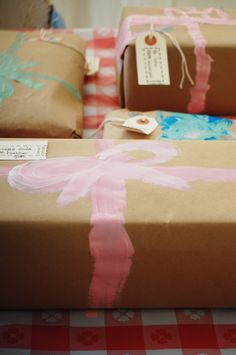 Love this idea. Let the kids paint on bows & ribbons for Christmas gift decor instead of the real stuff. Next year!