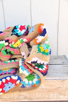 Vintage Multi-Colored Crocheted Afghan. Love the sand color.