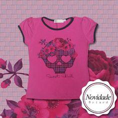Hoje tem novidade Briard para as pequenas: blusinha com estampa super fofa de caveira com flores e xadrez. Uma graça, né?   http://facebook.com/VistaBriard  #Moda #Fashion #Outfit #Ootd #Tip #Briard