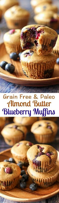 Simple Grain free and Paleo Blueberry muffins made with almond butter for awesome texture, flavor, and healthy fats! Great gluten free and Paleo breakfast or snack and very kid friendly! (cooking with kids paleo) Paleo Dessert, Dessert Sans Gluten, Paleo Sweets, Gluten Free Desserts, Gluten Free Recipes, Paleo Blueberry Muffins, Blue Berry Muffins, Blueberries Muffins, Healthy Muffins