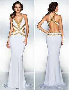 TS Couture Formal Evening Dress - White Plus Sizes / Petite Trumpet/Mermaid V-neck Sweep/Brush Train Jersey Neon Prom Dresses, Cheap Prom Dresses Online, Party Dresses For Women, Beautiful Dresses, Nice Dresses, Short Dresses, Cheap Wedding Guest Dresses, Formal Evening Dresses, Special Occasion Dresses