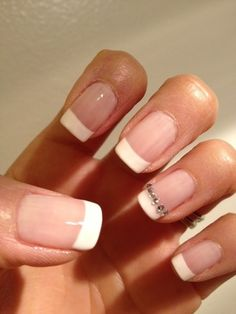 French Manicure with Rhinestone Ring Finger Accent