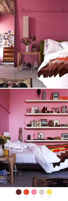 """Flower Girl"" pink interior paint in bedroom from Valspar. This shade is similar to Baker-Miller pink (also known as Schauss pink and Drunk Tank pink), a color studied for soothing quality."