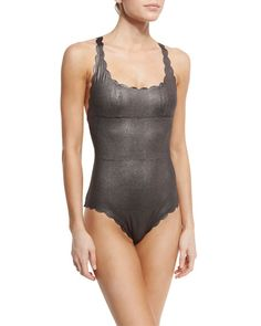 Gwen Scalloped Reversible One-Piece Swimsuit, Sterling