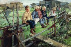 Воробьи, ребята на изгороди.Илларион Михайлович Прянишников.