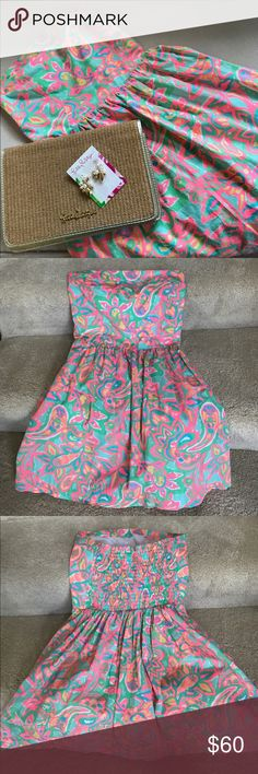 Lilly Pulitzer Strapless Dress Authentic Lilly Pulitzer Strapless Print Dress. Vibrant Colors. Gently Worn and In Excellent condition. Purchased on Poshmark and doesn't fit well so selling for what I paid for it. Measures 27inches from top to bottom of dress. Measures 12 1/2 inches across chest with elastic back. Has liner to give Dress some flare. Earrings available in separate listing :) Lilly Pulitzer Dresses Mini